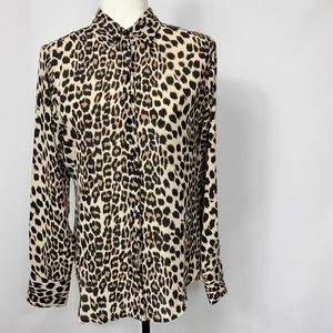 Cynthia Rowley Leopard Print Button Down Long